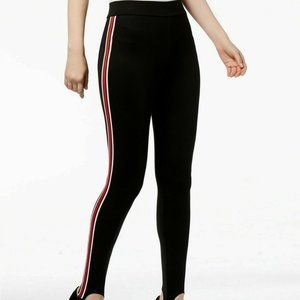 INC Large Varsity Stripe Stirrup Leggings Black
